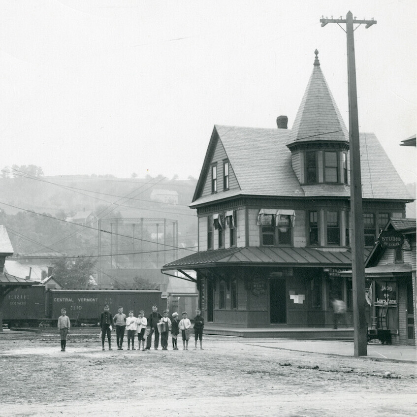 Photo of railroad depot by George Bosworth