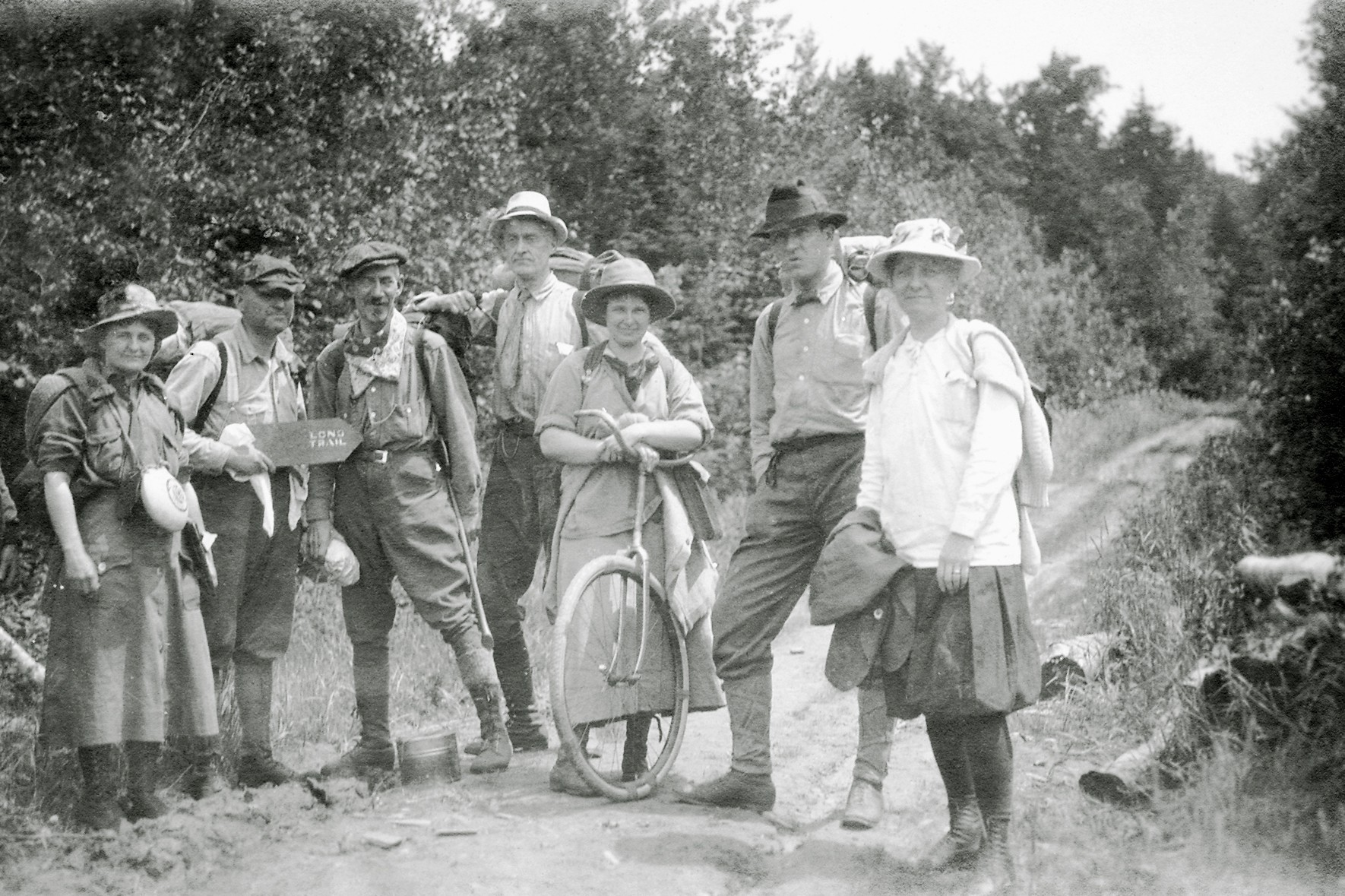 old photo of people on Long Trail