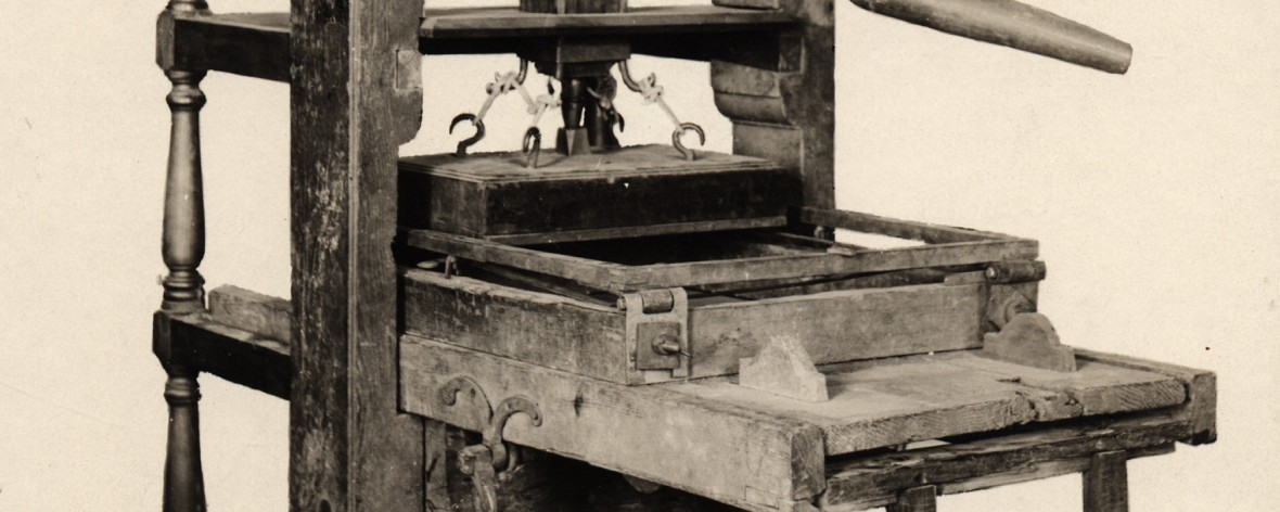Photo of the Dresden Press, brought to Vermont in 1778, and part of the VHS collections.