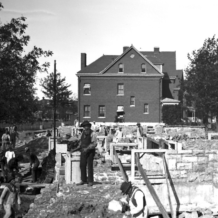 Photograph of Fort Ethan Allen under construction