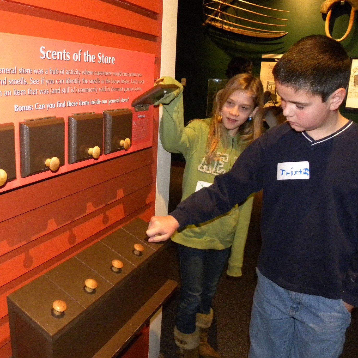 Children looking at museum exhibit