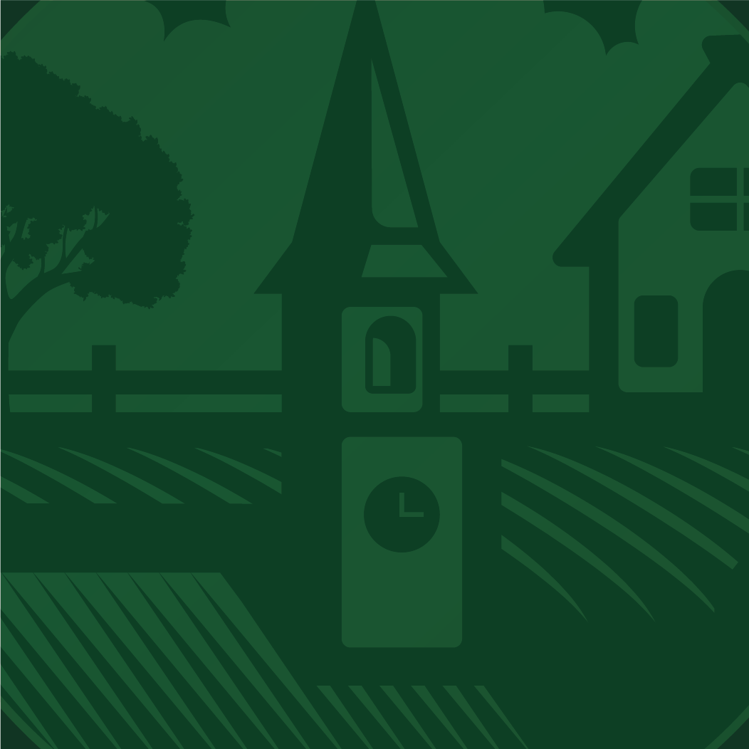 illustration of church steeple on green background