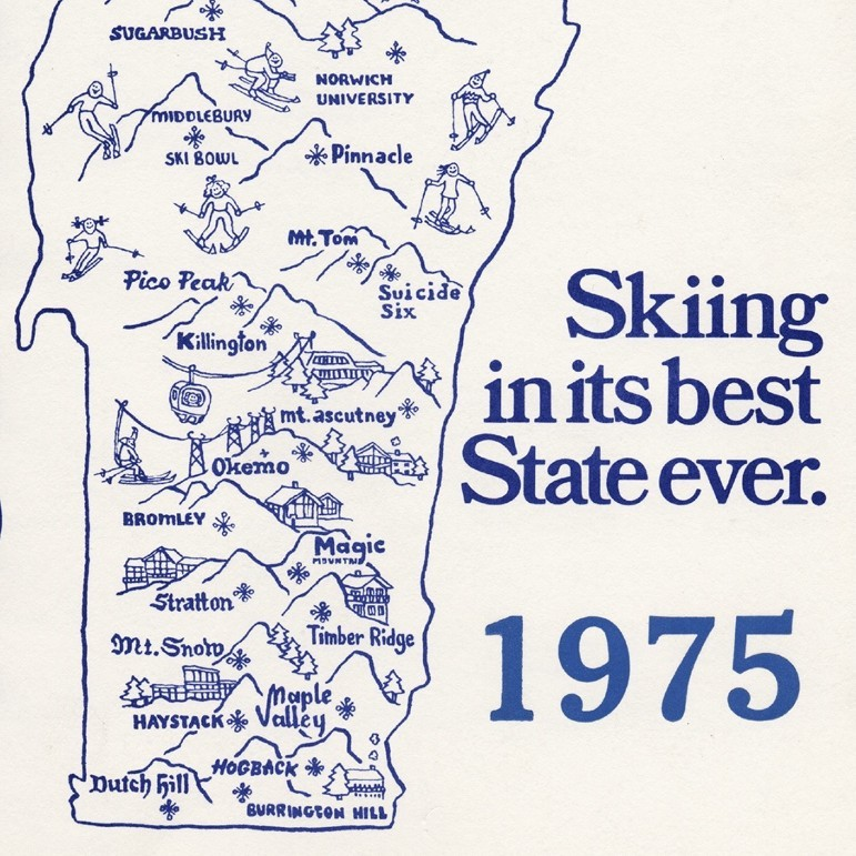 Map of Vermont with ski resorts from 1975