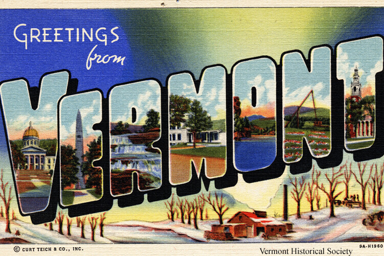 Greetings from Vermont postcard with images of Vermont scenes