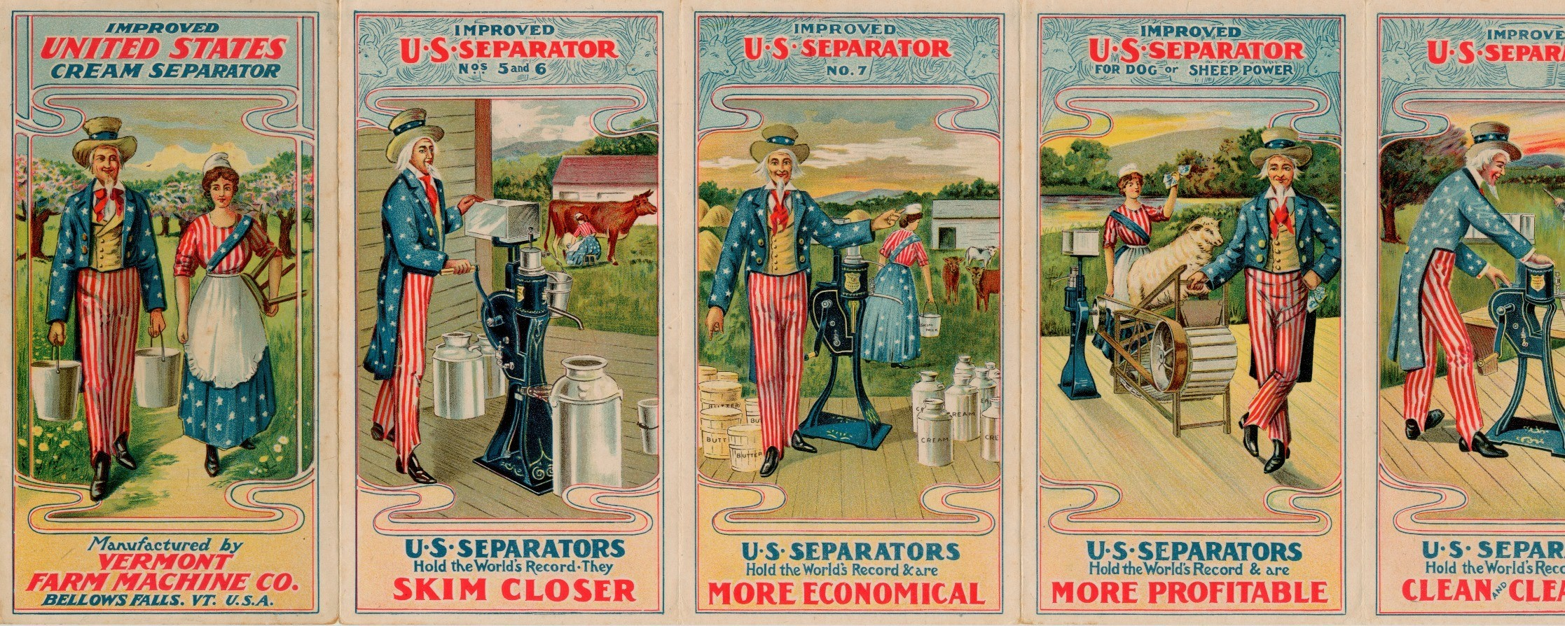 advertisement for Vermont Farm Machine Company cream separators showing Uncle Sam