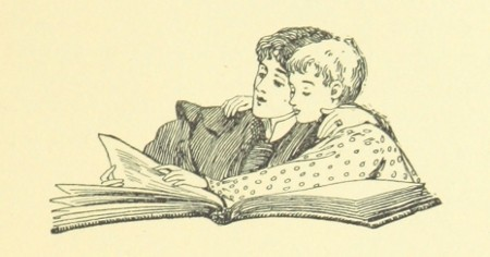 illustration of woman reading to child