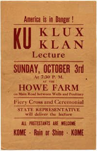 Ad for KKK lecture