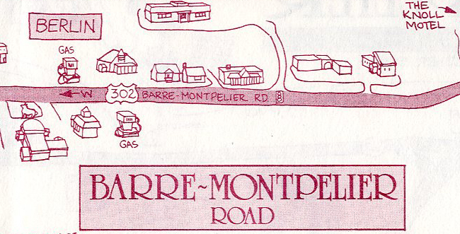 Advertising map of the Barre-Montpelier Road, 1990